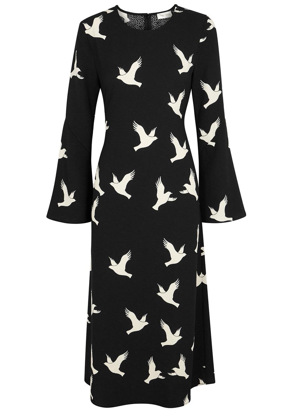 Clara Dove Print Midi Dress in Black And White
