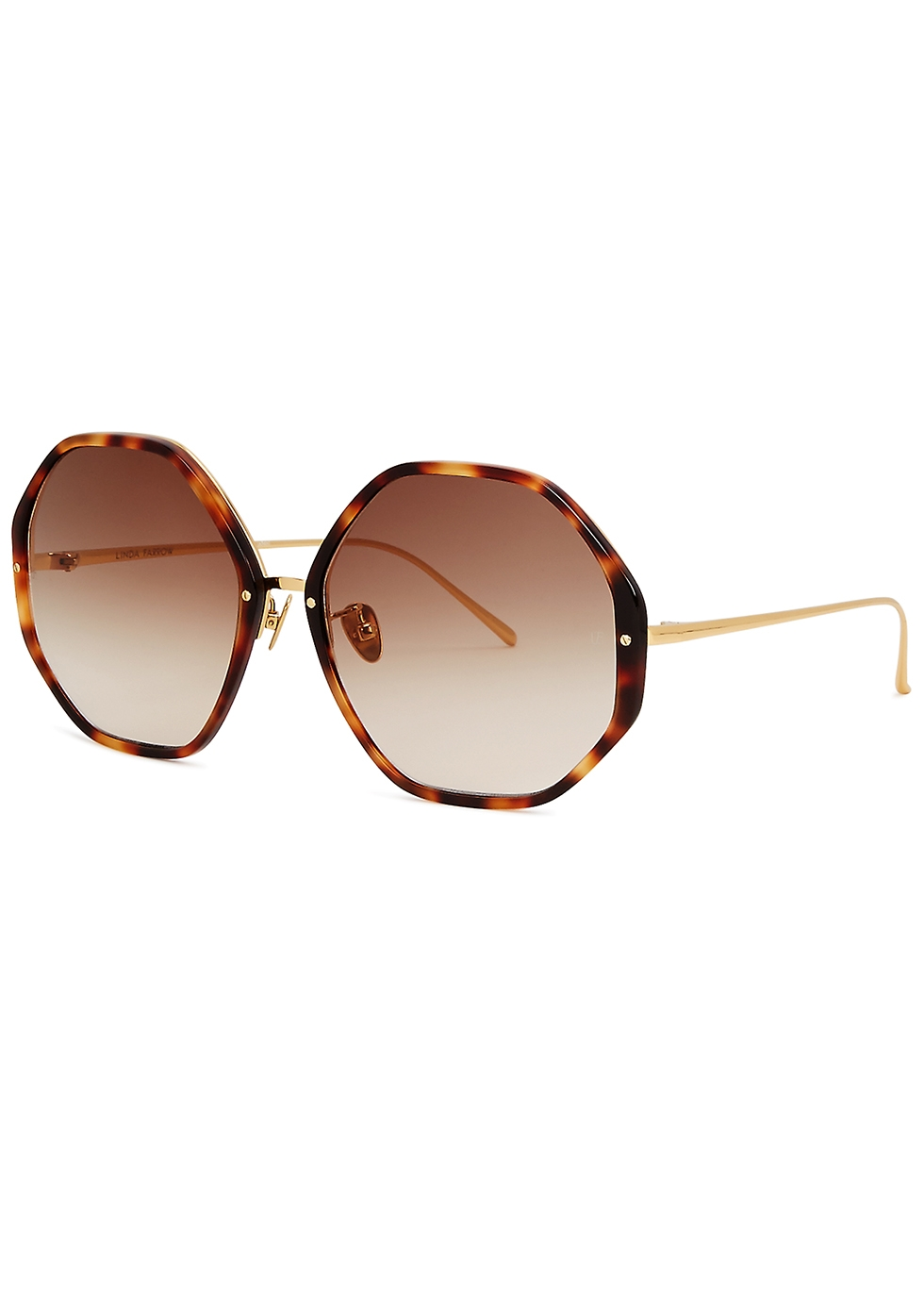 LINDA FARROW LUXE 901 Tortoiseshell Oversized Sunglasses in Brown