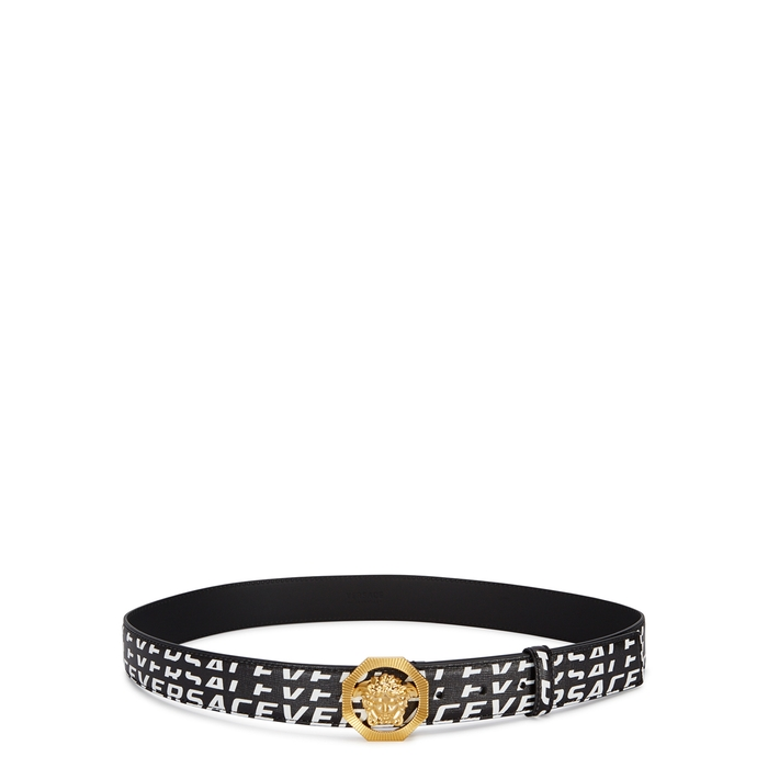 Versace LOGO-PRINT MEDUSA LEATHER BELT