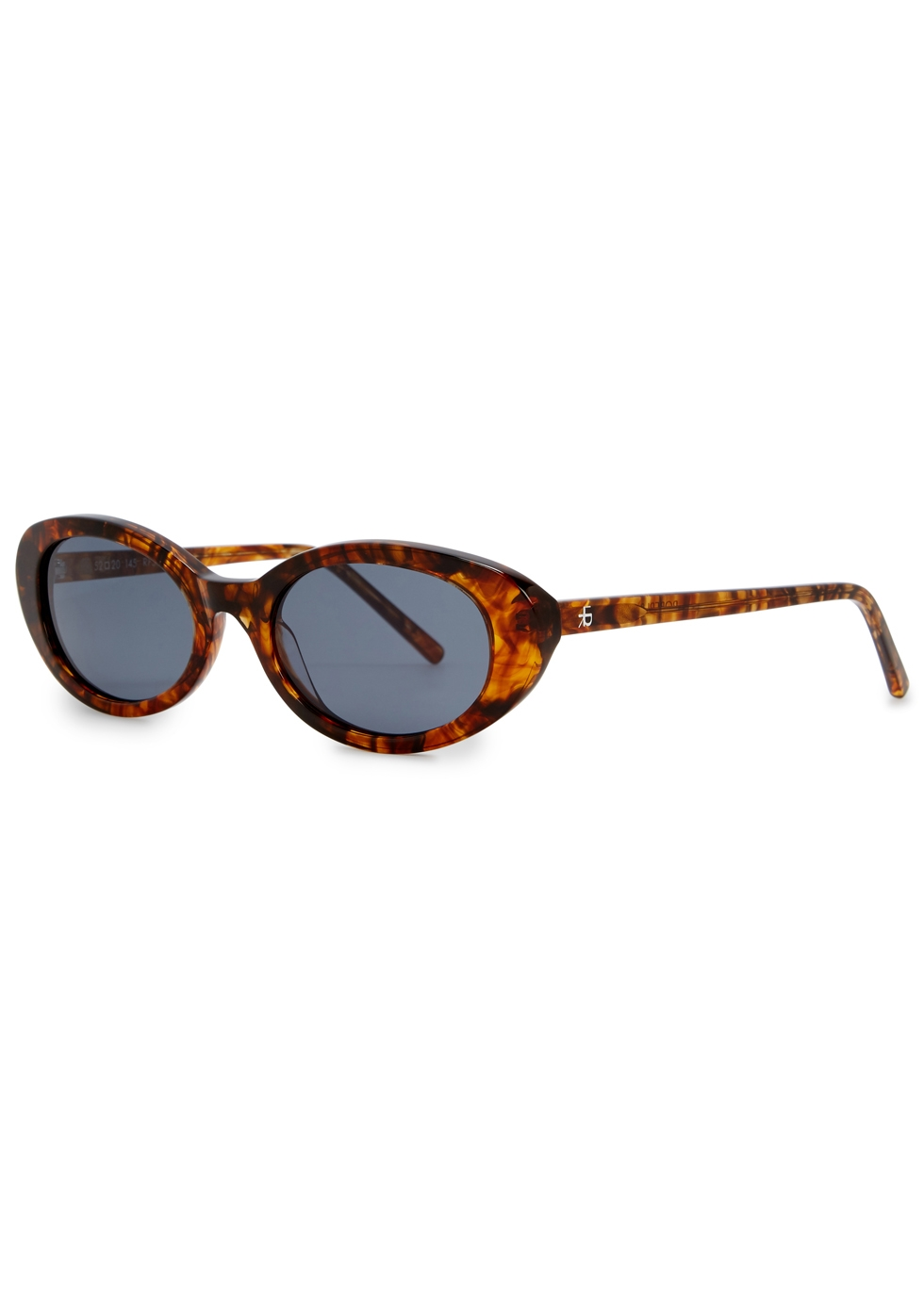 ROBERI AND FRAUD Betty Tortoiseshell Oval-Frame Sunglasses in Havana
