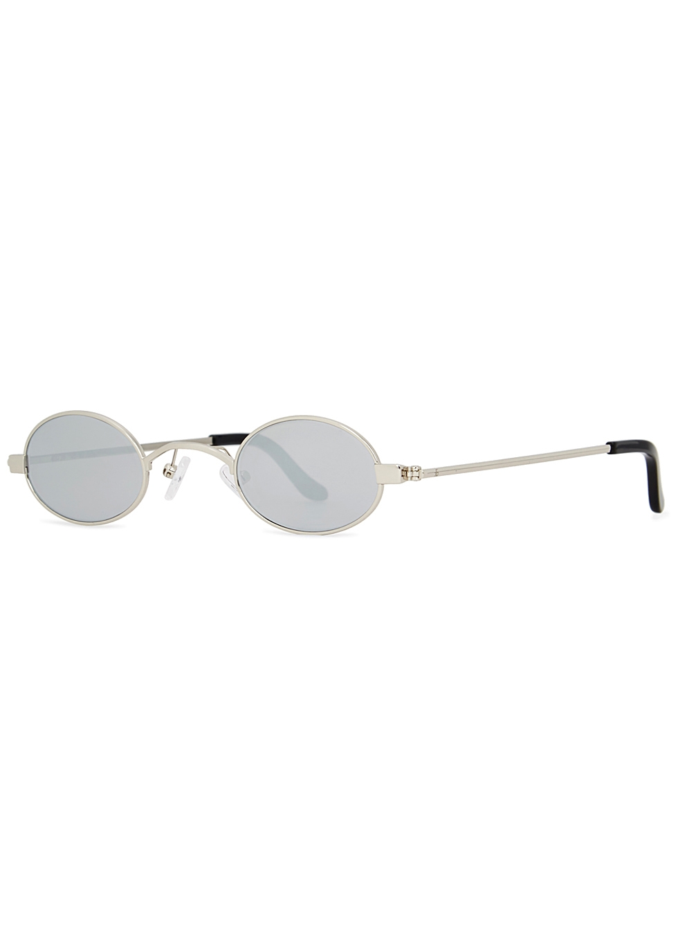 ROBERI AND FRAUD Doris Round-Frame Sunglasses in Silver