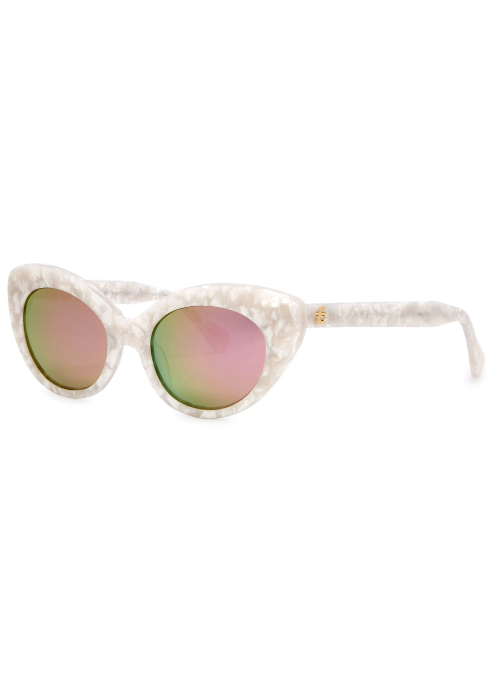 ROBERI AND FRAUD Agnes White Cat-Eye Sunglasses