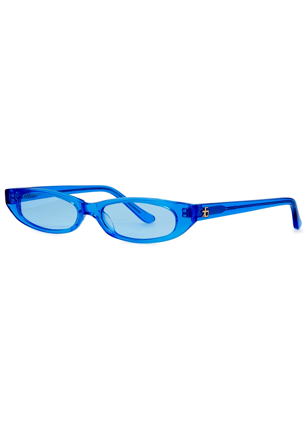 ROBERI AND FRAUD Frances Oval-Frame Sunglasses in Blue