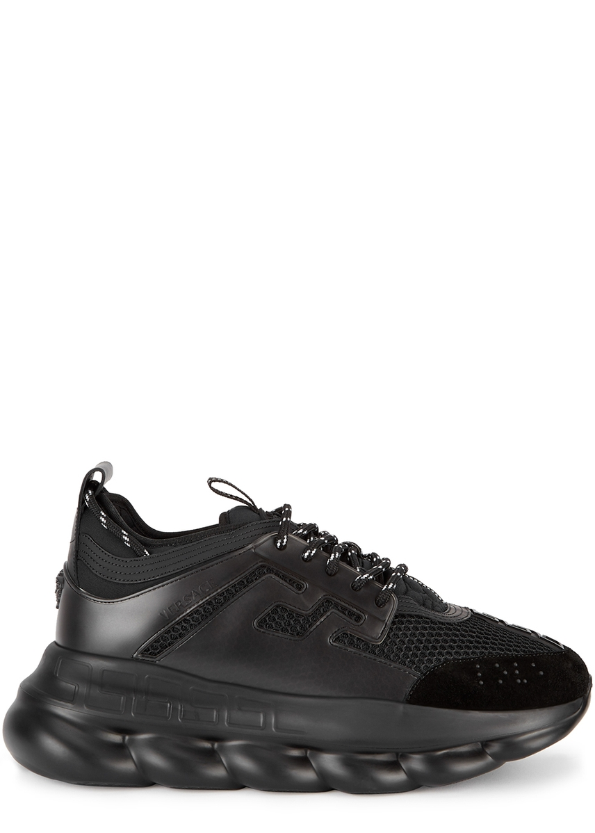 c507ad346080 Chain Reaction black mesh trainers ...