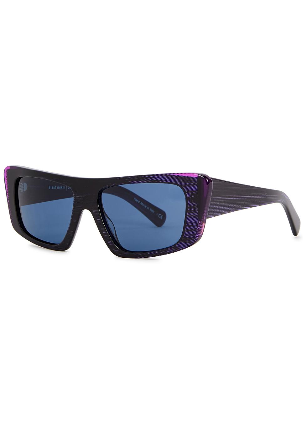 ALAIN MIKLI X Jeremy Scott Rectangle-Frame Sunglasses in Blue