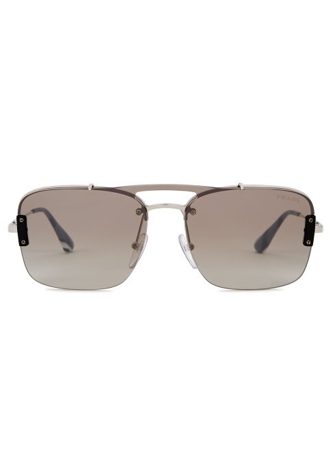 46e4f007839 Prada Silver-tone aviator-style sunglasses - Harvey Nichols