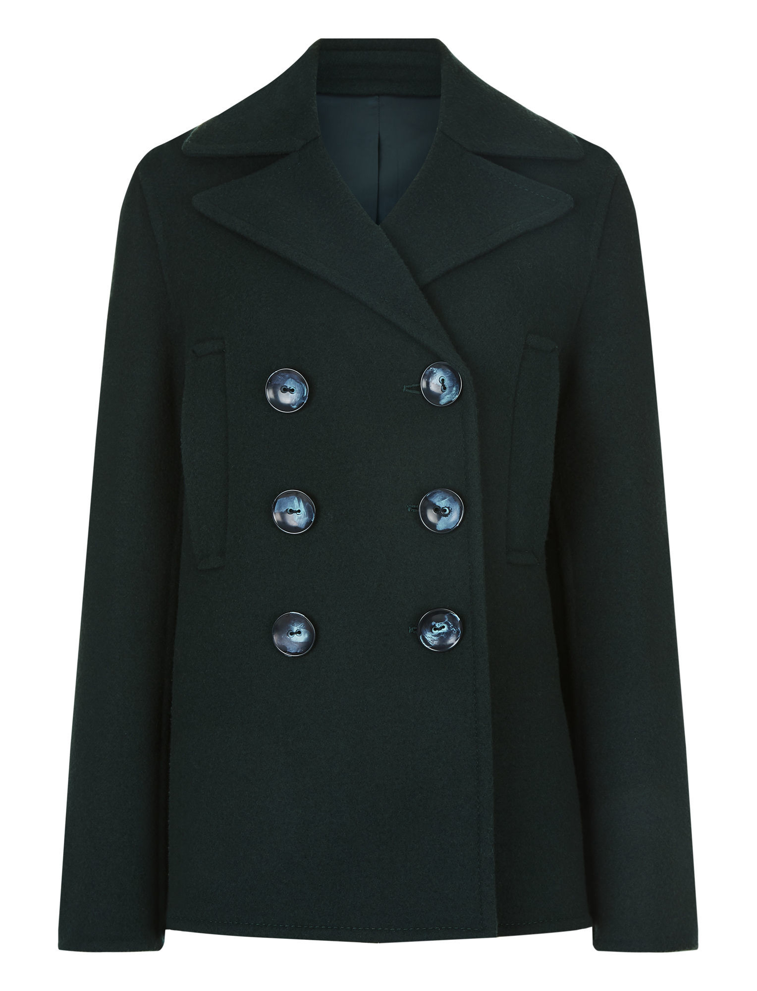 New Hector Short Fitted Pea Coat in Green