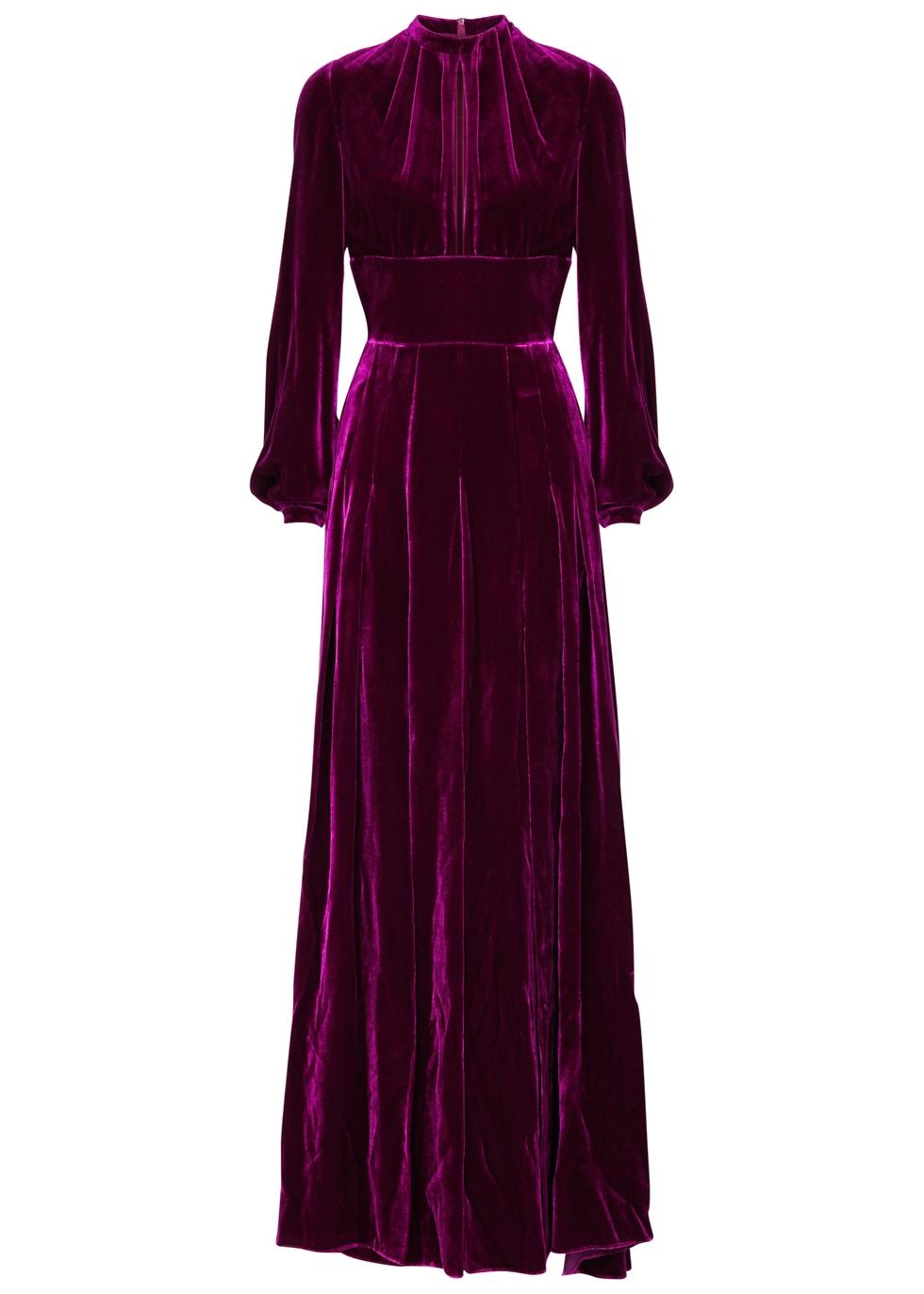 Alma Pleated Silk-Velvet Maxi Dress, Bordeaux