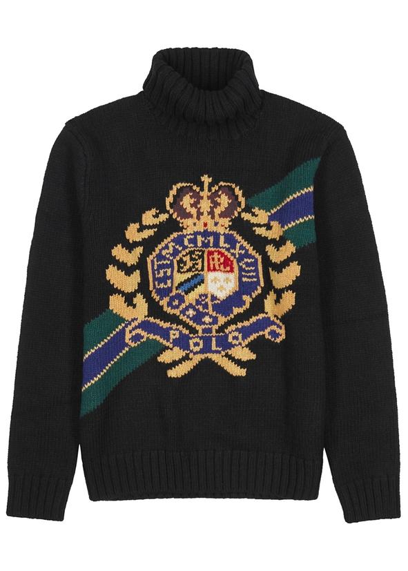 Crest logo-intarsia wool jumper Crest logo-intarsia wool jumper. New  Season. Polo Ralph Lauren 9121135c111e