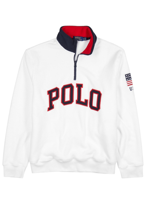 White logo-appliquéd fleece sweatshirt White logo-appliquéd fleece  sweatshirt. New Season. Polo Ralph Lauren 4f1e49003e