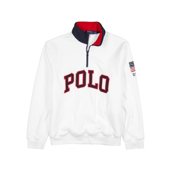Polo Ralph Lauren White Logo-AppliquÉD Fleece Sweatshirt ... acbad4c4cef