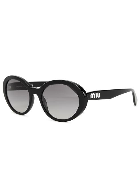 c62b7095f42 Miu Miu Black oval-frame sunglasses - Harvey Nichols