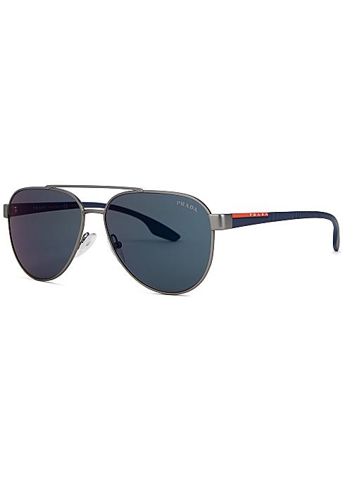 64b0ca084848 Prada Linea Rossa Linea Rossa gunmetal aviator-style sunglasses ...