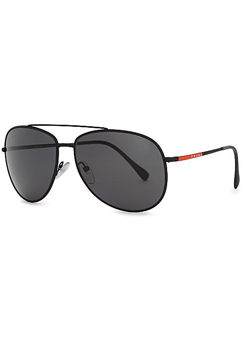 1bf472d8f Prada Linea Rossa Linea Rossa black aviator-style sunglasses ...