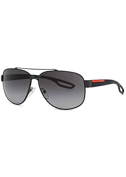 44525a751b06 Prada Linea Rossa Linea Rossa 58 black aviator-style sunglasses ...