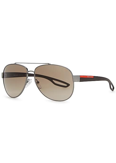 4455de380716 Prada Linea Rossa Linea Rossa gunmetal aviator-style sunglasses ...