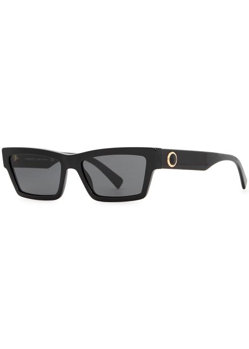 Versace Black rectangle-frame sunglasses - Harvey Nichols