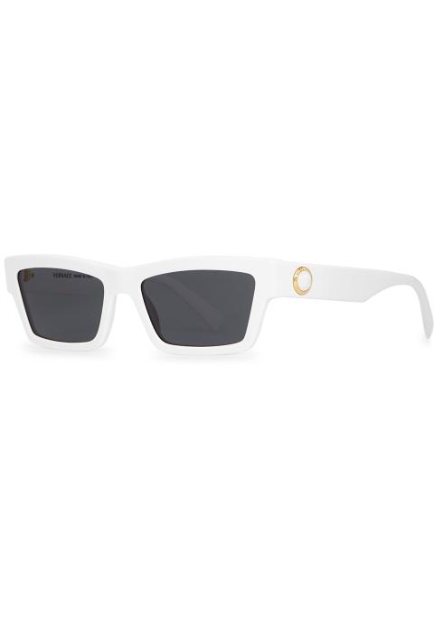 VERSACE White rectangle-frame sunglasses - Harvey Nichols