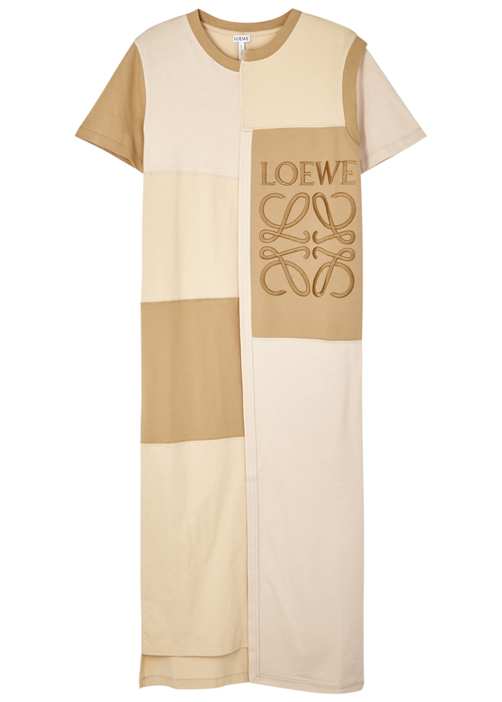 LOEWE ECRU PATCHWORK COTTON DRESS