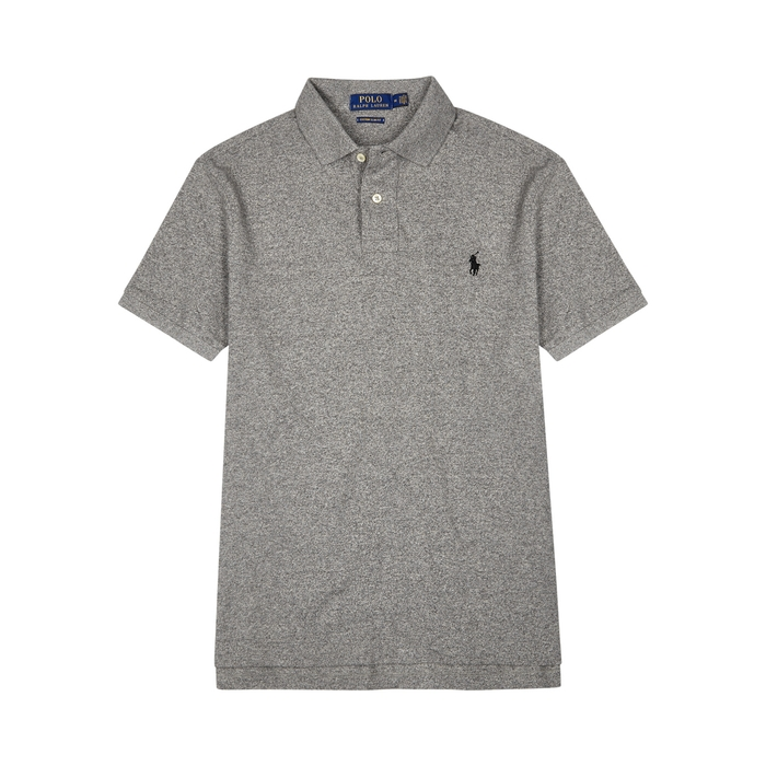 POLO RALPH LAUREN Grey slim piqué cotton polo shirt