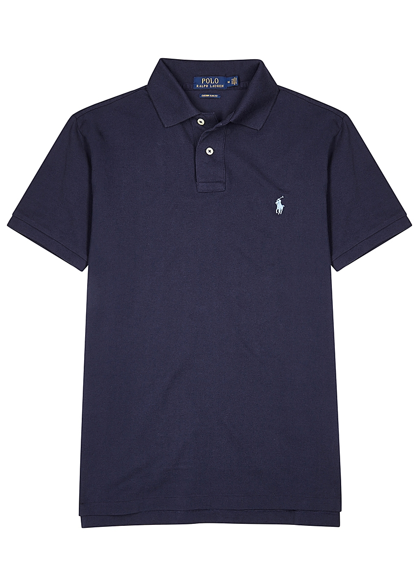 11dadb87 Navy slim piqué cotton polo shirt Navy slim piqué cotton polo shirt. Polo  Ralph Lauren