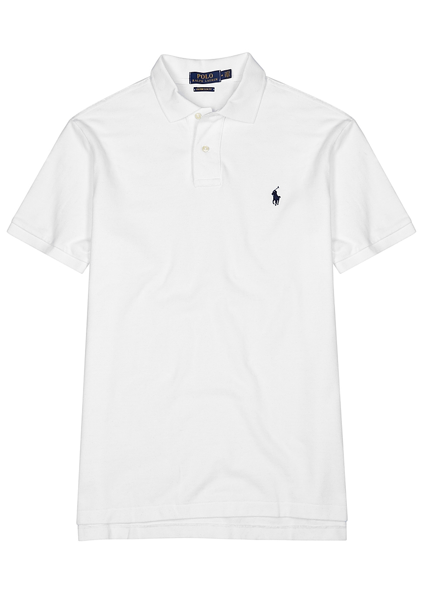 596a66443 White slim piqué cotton polo shirt White slim piqué cotton polo shirt. Polo  Ralph Lauren. White slim piqué ...