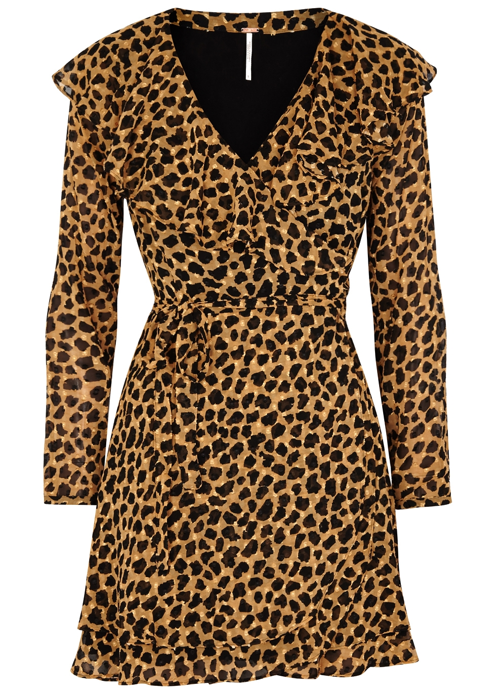 Frenchie Printed Georgette Wrap Dress in Leopard