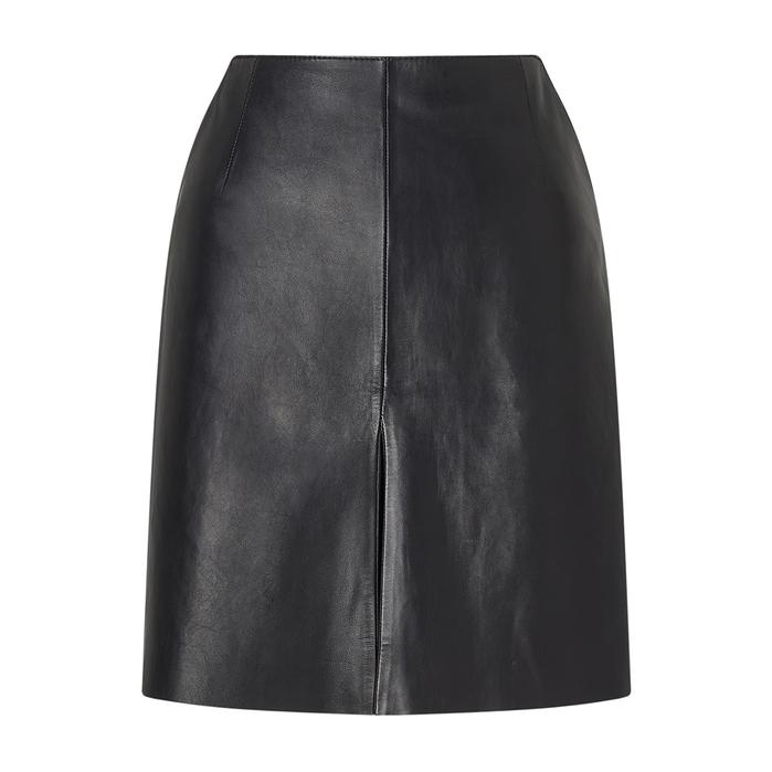 JIGSAW | Jigsaw Mini Pleat Front Leather Skirt | Goxip