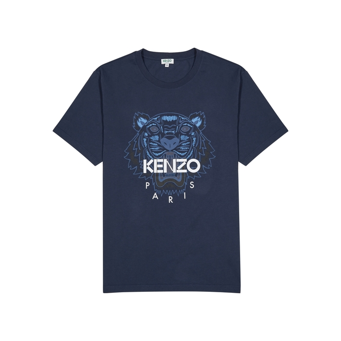 KENZO Navy Tiger-print Cotton T-shirt