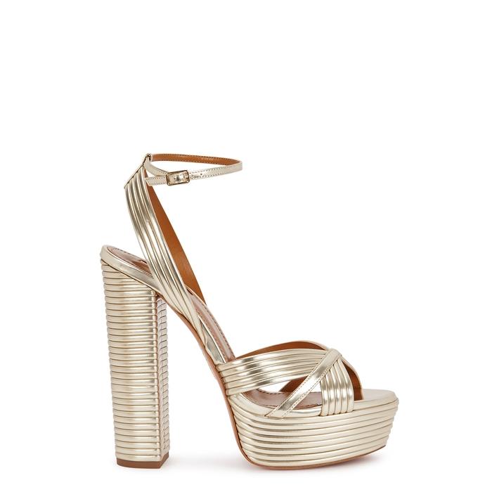 27bfa9c1fa9 AQUAZZURA Sundance 140 Gold Leather Platform Sandals - Female First Shopping