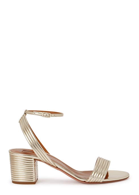 4e4f278c735 AQUAZZURA Sundance 50 gold leather sandals - Harvey Nichols