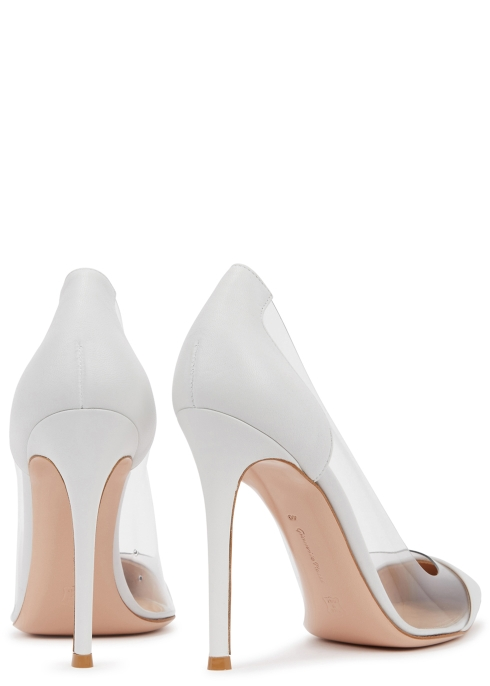 2538e5f2936 Gianvito Rossi Plexi 105 white leather and Perspex pumps - Harvey ...