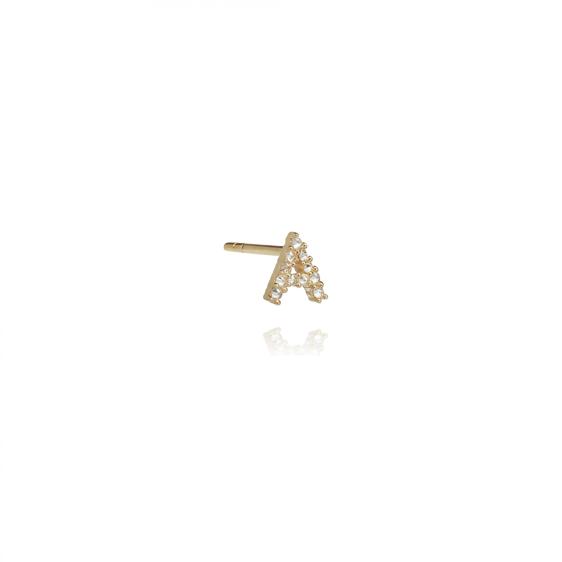 ANNOUSHKA Gold A Diamond Initial Single Stud Earring