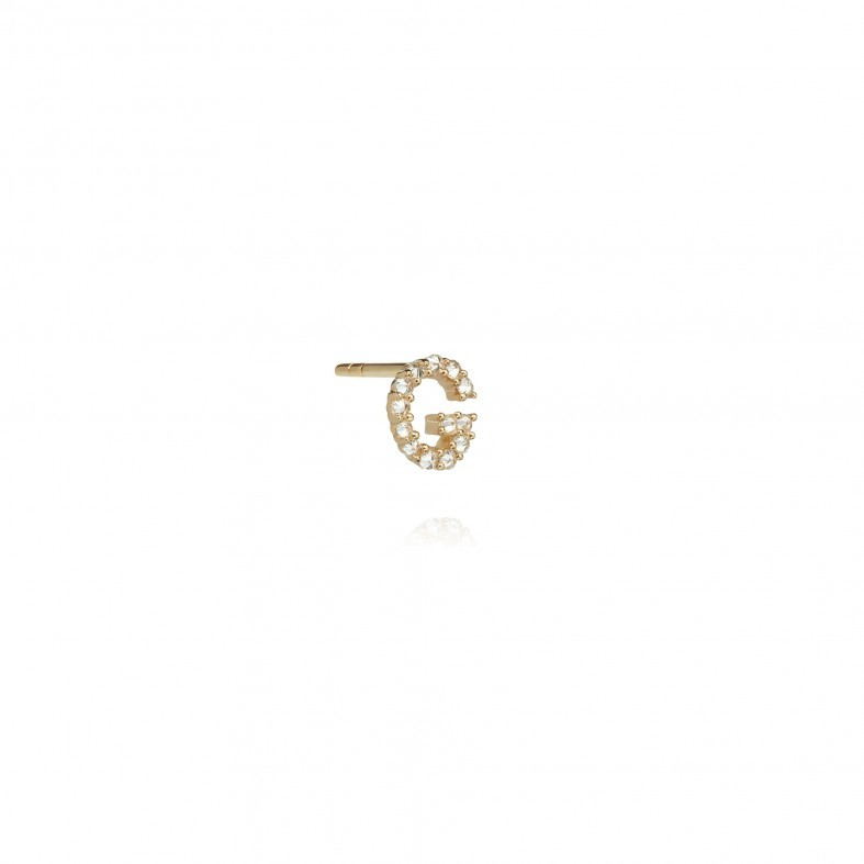 ANNOUSHKA Yellow Gold And Diamond Initial G Single Stud Earring