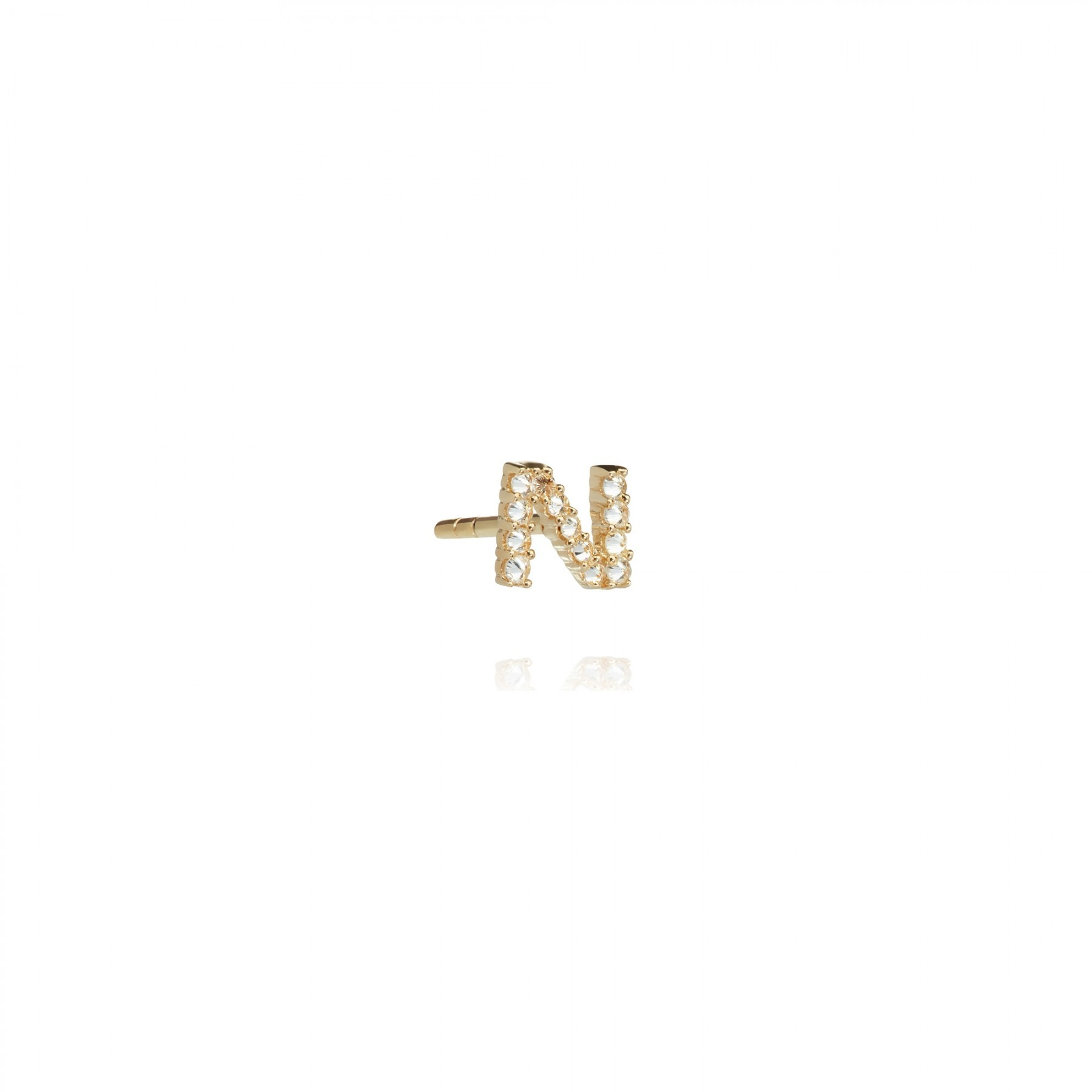 ANNOUSHKA Gold N Diamond Initial Single Stud Earring