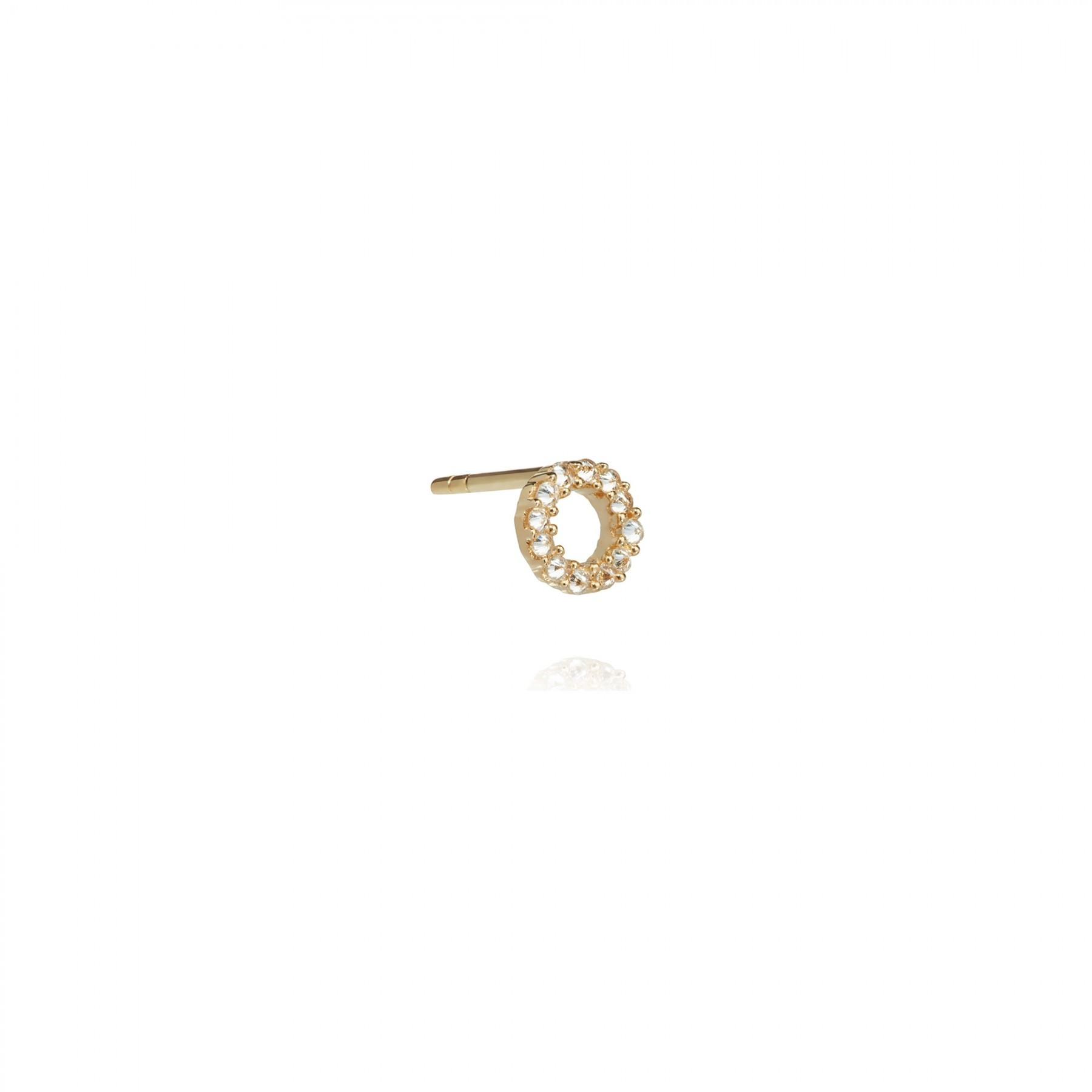 ANNOUSHKA Yellow Gold And Diamond Initial O Single Stud Earring