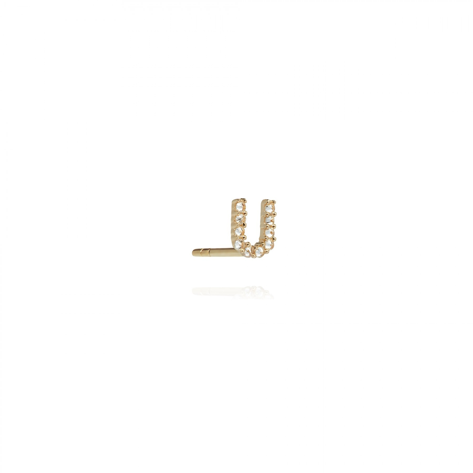 ANNOUSHKA Yellow Gold And Diamond Initial U Single Stud Earring