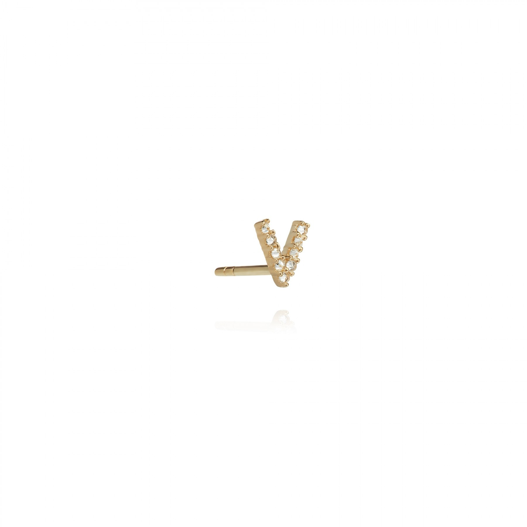 ANNOUSHKA Yellow Gold And Diamond Initial V Single Stud Earring