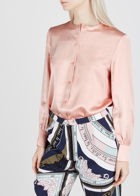 a6e37579a3605 Tory Burch Pink fringe-trimmed silk shirt - Harvey Nichols