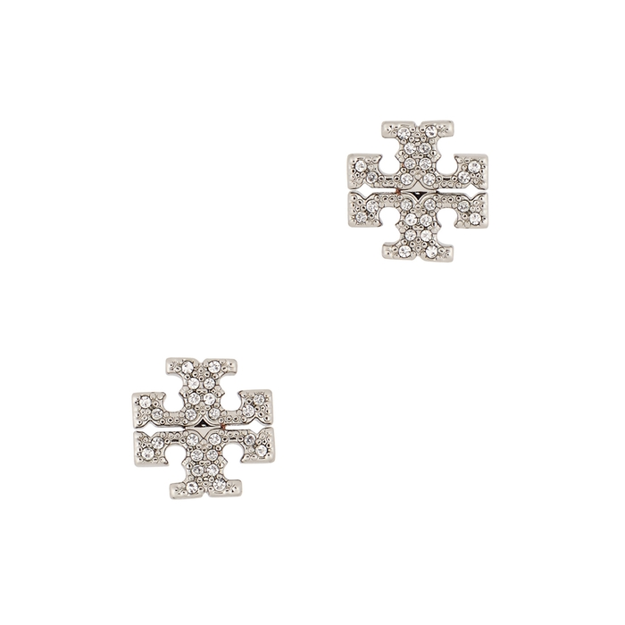 Tory Burch Earrings CRYSTAL-EMBELLISHED LOGO STUD EARRINGS