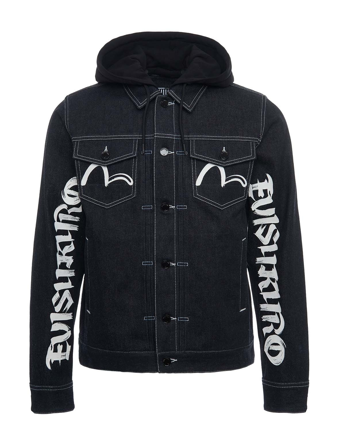 EVISU Brushstroke Logo Print Denim Jacket With Detachable Hood