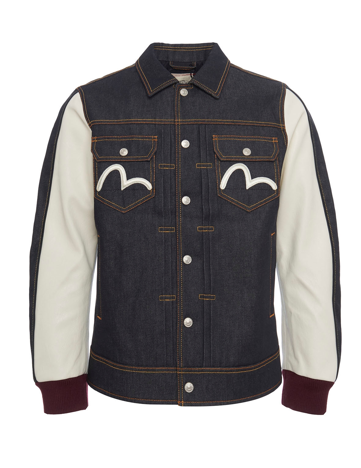 EVISU Hybrid Denim Jacket With Kamon Applique