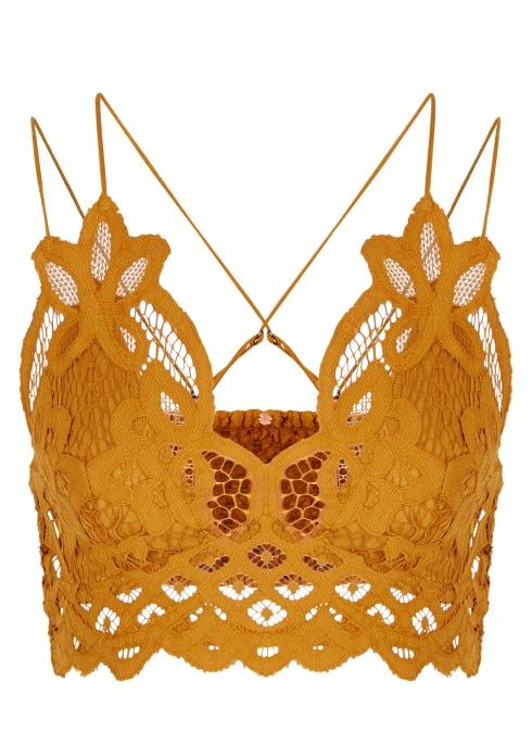 e3288ef74d Free People Adella mustard lace bra top - Harvey Nichols