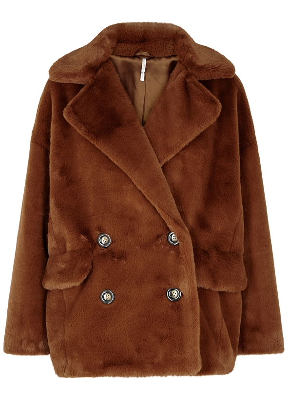 Kate brown faux-fur coat ... 17ede7cb9