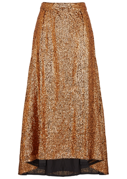Bronze Sequin Midi Skirt