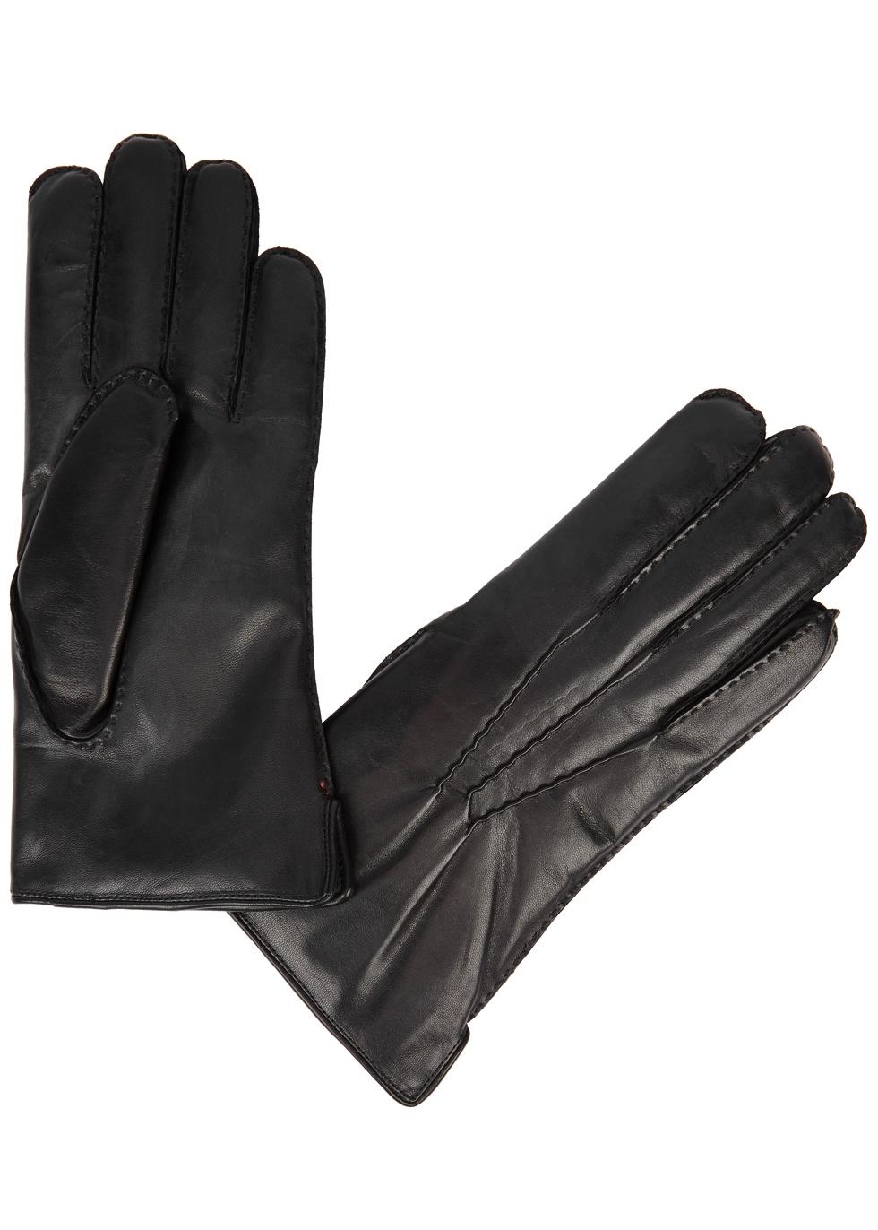 DENTS Pembroke Fur-Lined Leather Gloves in Black