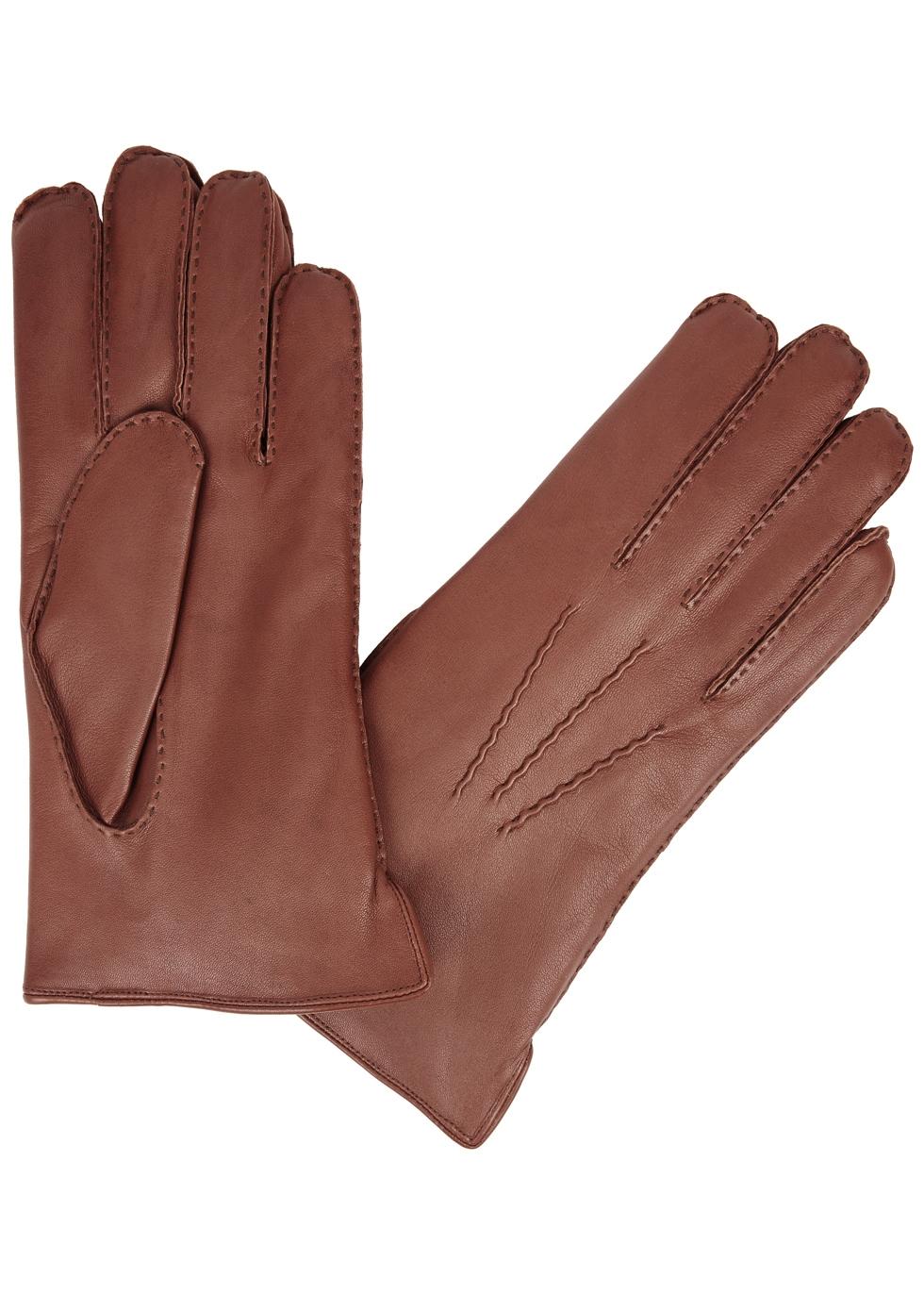 DENTS Pembroke Fur-Lined Leather Gloves in Brown