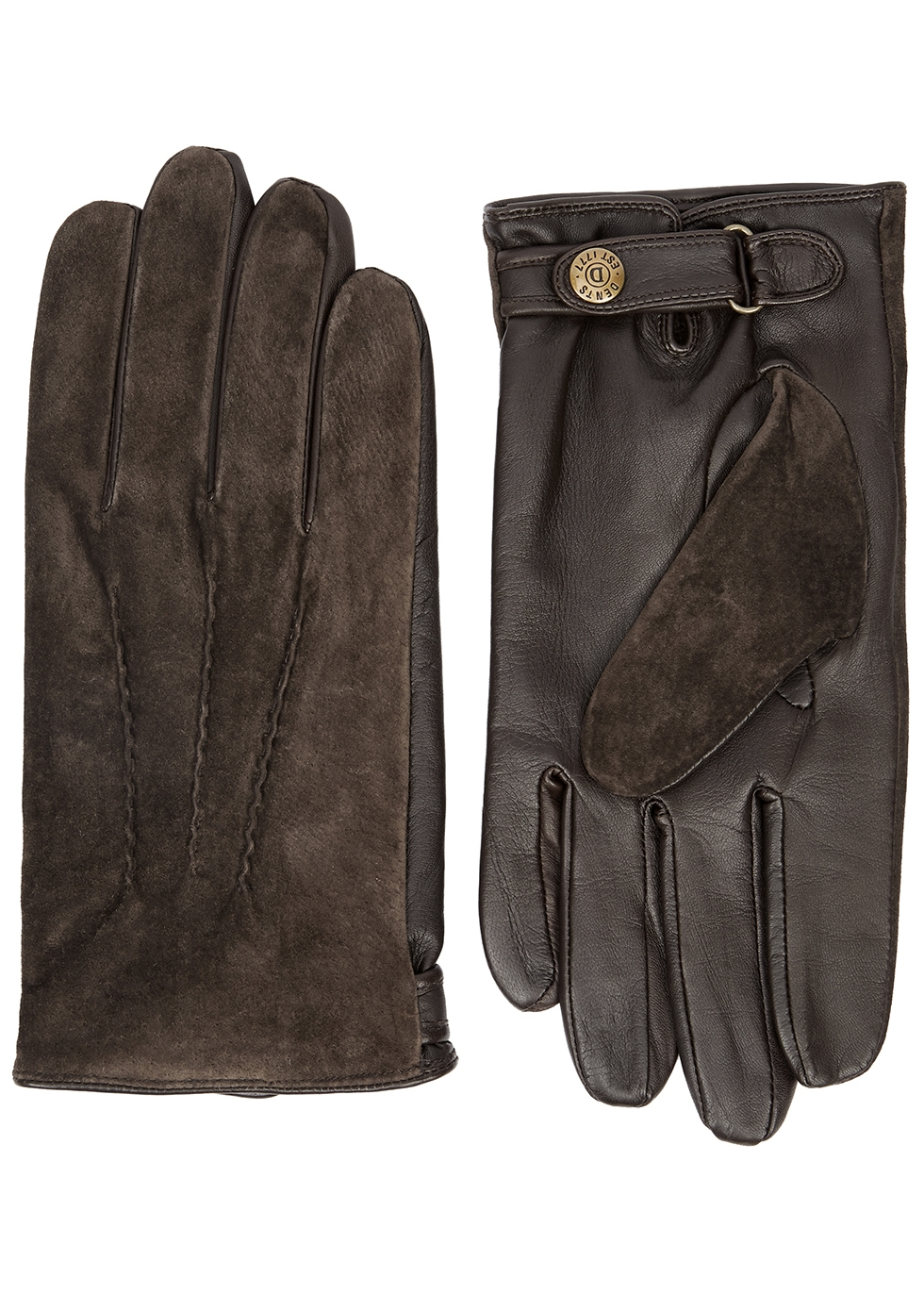 DENTS Newmarket Suede And Leather Gloves in Brown