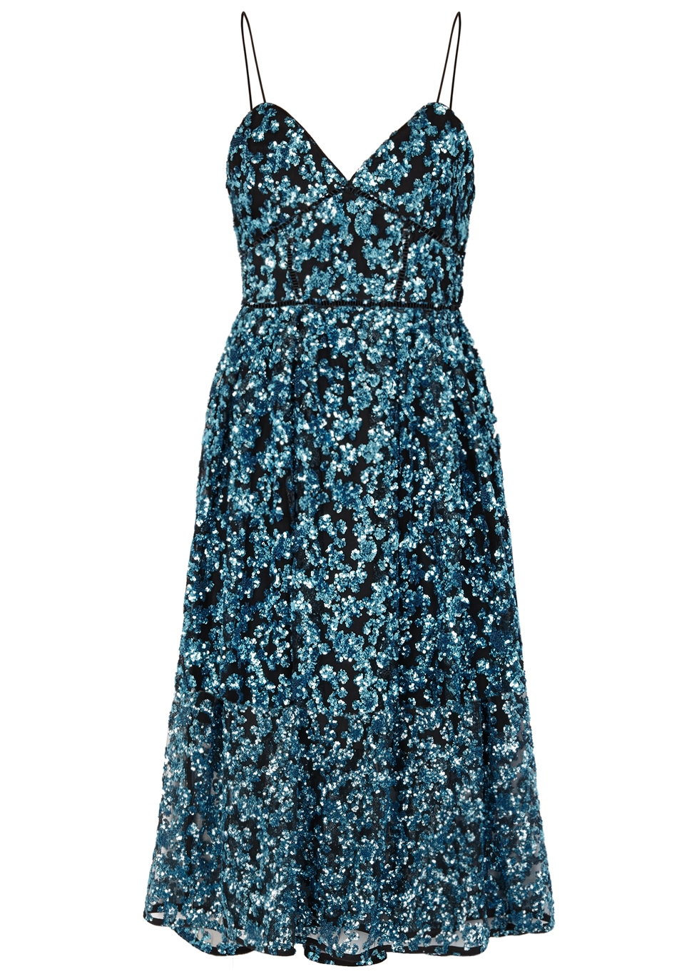 Self Portrait Azaelea Blue Sequinned Dress Harvey Nichols