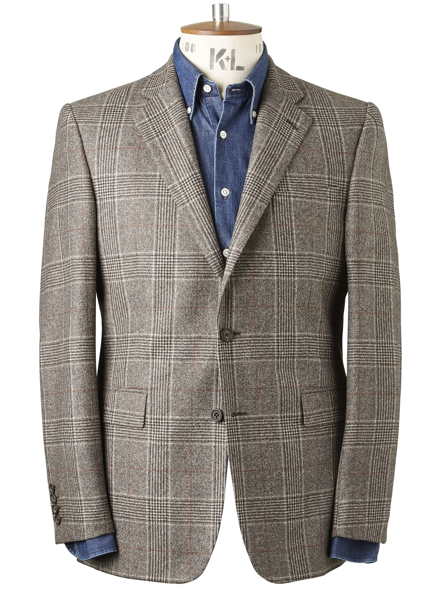 CHESTER BARRIE Flannel Prince Of Wales Check Elverton Jacket